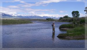 upper big hole river with fly fisherman